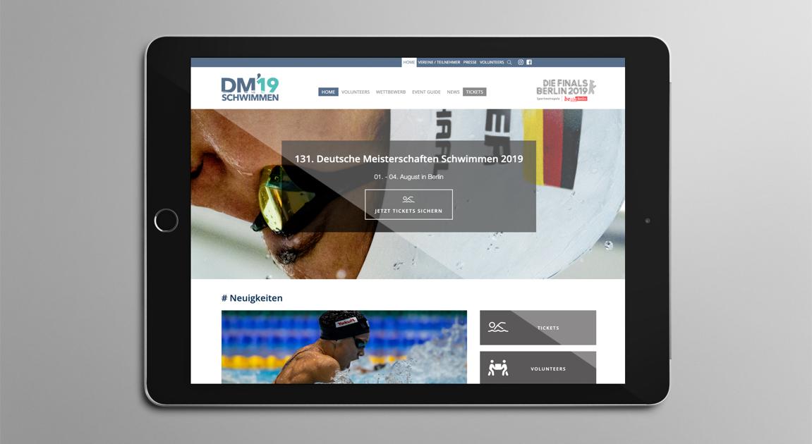 Webseite auf iPad - Deutsche Meisterschaften Schwimmen