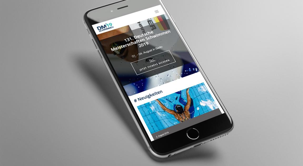 Webseite auf iPhone - Deutsche Meisterschaften Schwimmen