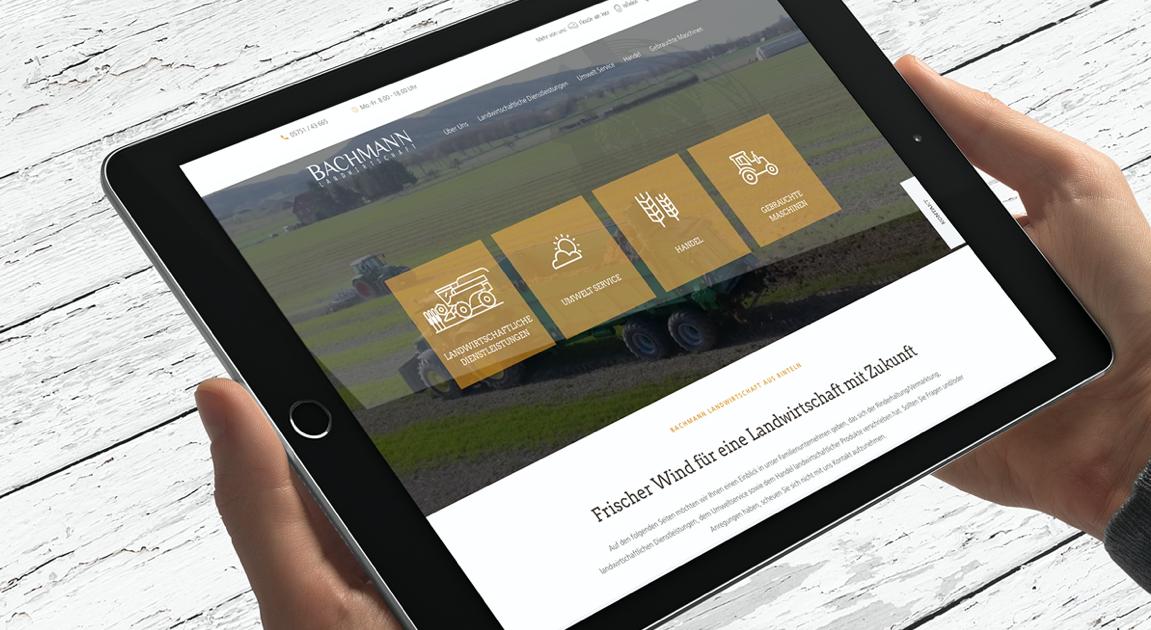 Website ipad - Bachmann Landwirtschaft