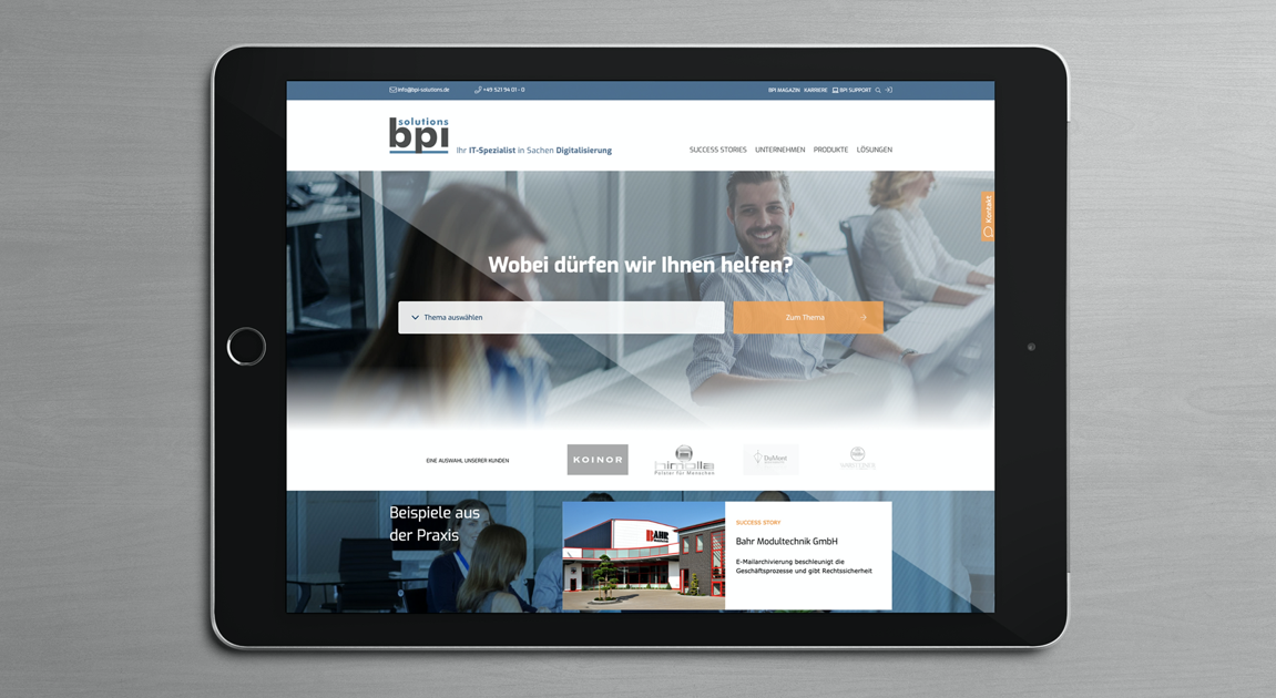 quick-selection tool with relevant questions on the start page - BPI Solutions