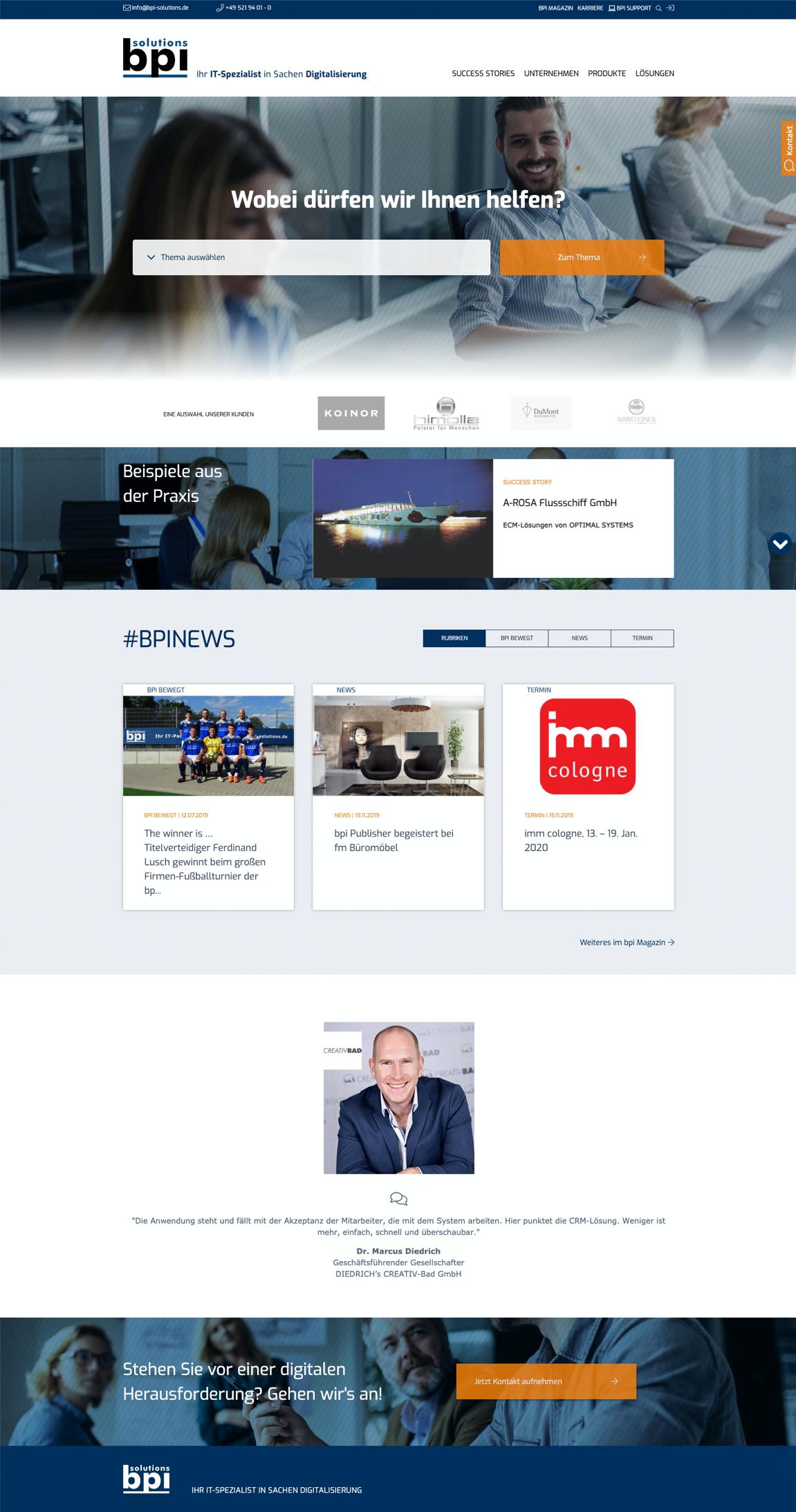 Webseite bpi - BPI Solutions